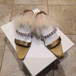 Zara Heeled Sandal with Feather and Rhinestone